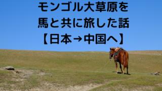 モンゴル大草原を馬と共に旅した話【日本→中国へ】